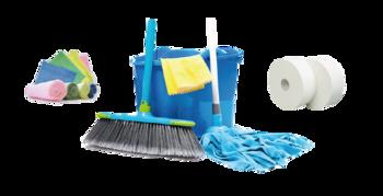 Útiles de limpieza - Celulosa + trapos + cubo + fregona + escoba